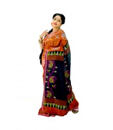 Flowery Orange Indian Traditional Ghicha Handloom Silk Saree DSC0445