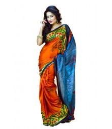 Fabulous Orange Colour Designer Silk Saree DSCA0011