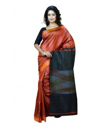 Stylish Orange & Black Designer Silk Saree DSCA0070