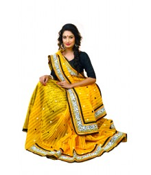 Bright Yellow Colour Designer Net Saree DSCA0365