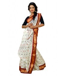 Luminous White Colour Designer Brasso Saree DSCA0378