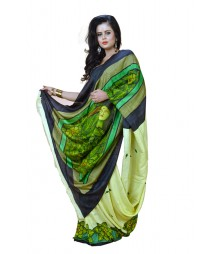 Outstanding Handpainted Designer Green Colour Silk Saree DSCA0430