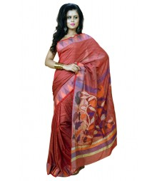 Simple Red Colour Designer Silk Saree DSCA0475