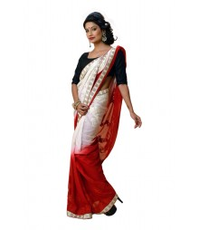 Shining White & Red Colour Designer Georgette Saree DSCA0504