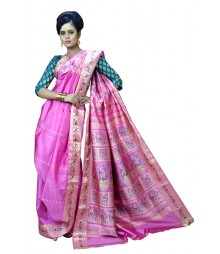 Beautiful Pink Colour Bengali Wedding Silk Saree DSCA0584