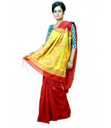 Stylish Red Bengal Traditional Tant Silk Saree DSCA0591