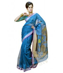 Modern Blue Colour Designer Silk Saree DSCA0613