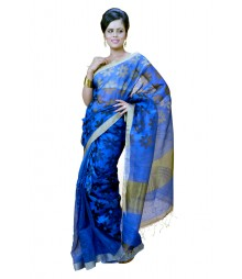 Transparent Floral Printed Blue Colour Designer Silk Saree DSCA0621