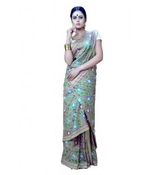 Modern Floral Printed Multi Colour Silk Kantha Stiched Saree DSCA0665