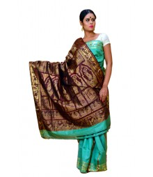 Shiny Green Colour Baluchuri Silk Saree DSCA0675