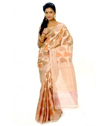 Stunning Golden & Orange Hand Made Bengal Silk Saree DSCB0334