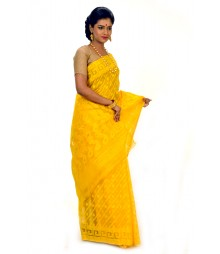 Ravishing Yellow Color Cotton Saree DSCB0390