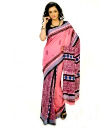 Pink & Blue Gorgeous Cotton Block Printed Saree DSCB0430