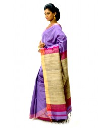 Purple & Tassar Charming Bengal Handloom Silk Saree DSCB0461