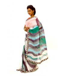 White & Green Cotton Hand Printed Saree DSCB0605
