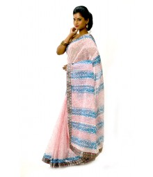 Fashionable White & Blue Block Printed Cotton Saree DSCB0614
