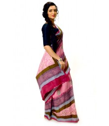 Elegant Pink & Blue Printed Cotton Saree DSCB0676