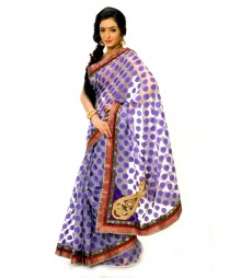 Ravishing Purple & Orange Printed & Embroidered Saree DSCB0703