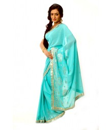 Sky Color Fashionable Zari Embroidered Saree DSCB0788