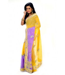 Eye Catching Yellow & Purple Zari Embroidered Saree DSCB0806