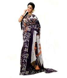 Black with Orange Handmade Batik Saree DSCB1085