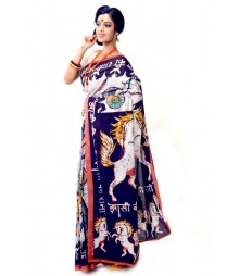 Multi Colour Bengal Cotton Handmade Saree DSCB1108