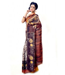 Multi Colour Matka Silk Handmade Saree DSCB1110