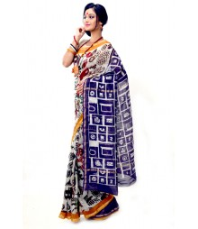Multi Colour Silk Chanderi Handmade Saree DSCB1111