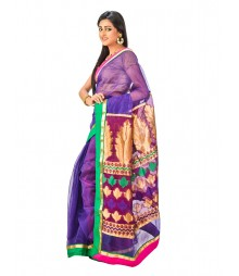 Purple Color Super Net Saree DSCE0093