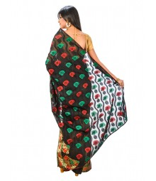 Black Banarasi Chanderi Silk Saree DSCE0106