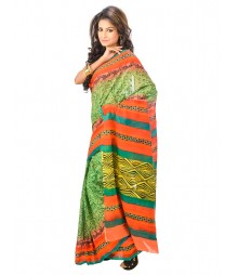 Green & Orange Designer Saree DSCE0155