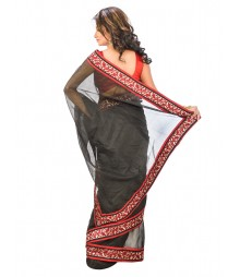 Black Color Super Net Saree DSCE0172