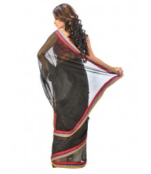 Black Color Super Net Saree DSCE0196
