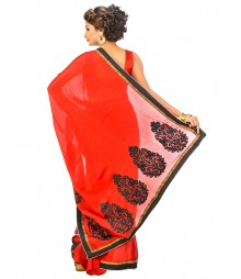Red Color Self Design Saree DSCE0396