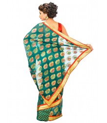Green Banarasi Chanderi Silk Saree DSCE0414