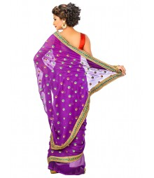 Purple Color Georgettes Saree DSCE0425