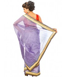 Light Violate Design Embroidery Saree DSCE0431