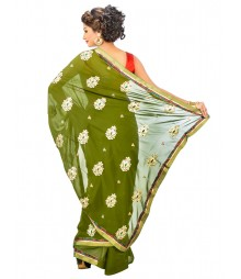 Green Color Georgettes Saree DSCE0455