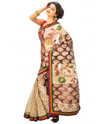 Brown Color Self Design Net Saree DSCE0480