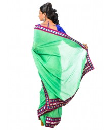 Green & Red Self Design Cotton Silk Saree DSCE0485
