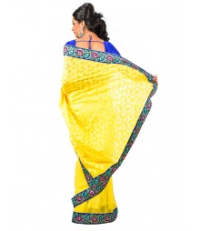 Yellow Color Self Design Brasso Saree DSCE0522