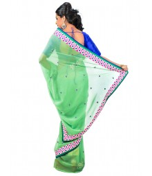 Green Color Self Design Georgettes Saree DSCE0541