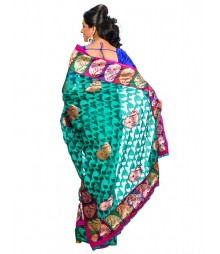 Green Color Self Design Brasso Saree DSCE0564
