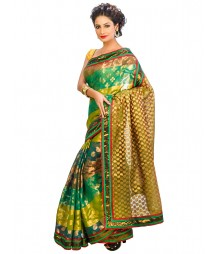Olive Green & Golden Banaras Chanderi Silk Saree DSCE0614