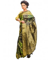Green & Golden Mulberry Silk Saree DSCE0679