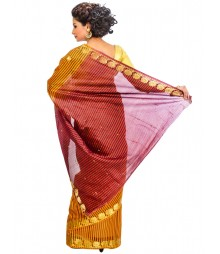 Orange & Maroon Color Art Silk Saree DSCE0697