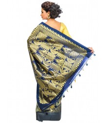 Blue & Golden Color Mulberry Silk Saree DSCE0704