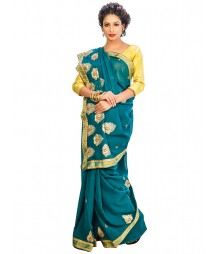 Deep Green Color Georgettes Saree DSCE0715