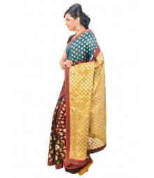 Brown & Golden Color Self Design Saree DSCG001
