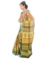 Yellow & Green Colors Self Design Wear Saree DSCG003